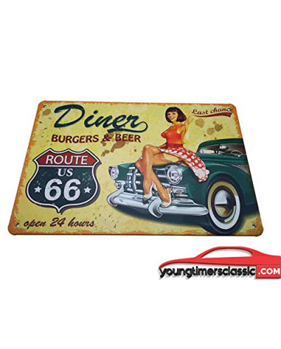 Plaque métal Route 66 Burger 20x30