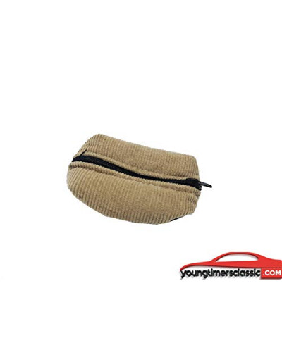 Beige ribbed coin purse