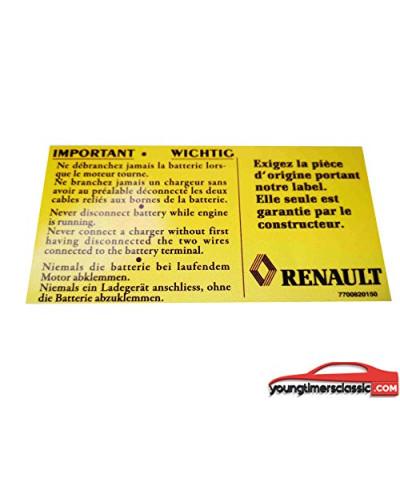 Adesivo Bateria Renault Clio Williams 16S 16V