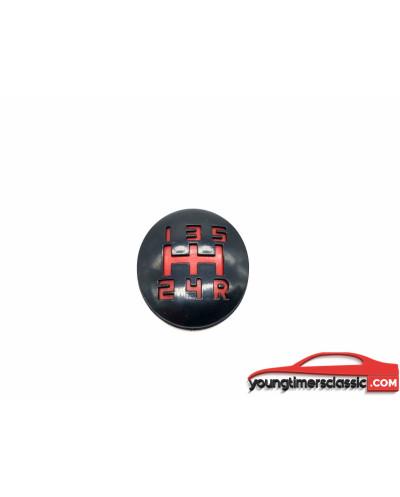 Almohadilla de pomo de cambio para Peugeot 205 - almohadilla roja 5 velocidades rejilla blanca be3